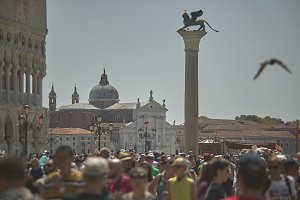 Piazza San Marco in Venice crowded w