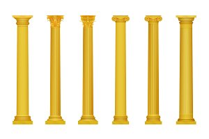 Golden realistic ancient columns
