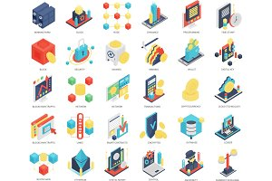 Isometric Blockchain, mining icons