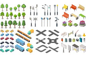 Isometric city vector collection