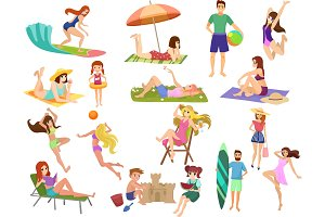 People vacation beach set