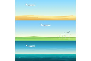Airplanes over field, sea, desert