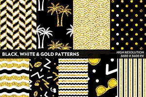 Black White & Gold Patterns