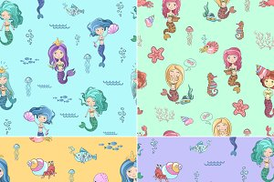 Cute little mermaid patterns
