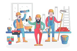 Workers vector characters team