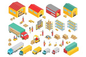 Logistics isometric infographic set.