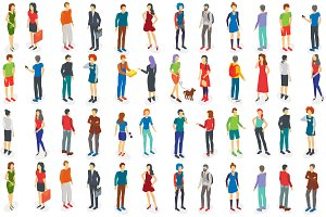 Isometric different people set