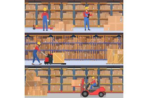 Warehouse workers with equipment
