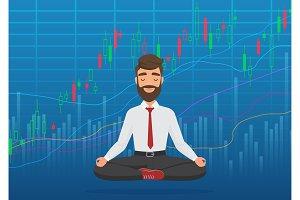 Trader meditating rising market