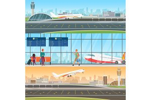 Airport horizontal vector banners.