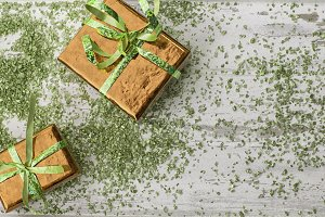 Holiday gifts in orange and green