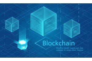 Blockchain cloud data concept