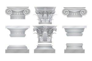 Realistic ancient capitals set.