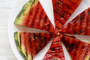 Many slices of fresh ripe grilled