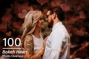 100 Bokeh Heart Overlays