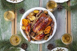 Roasted whole chicken with potatoes