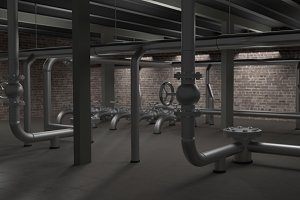 Large industrial boiler, pipes and