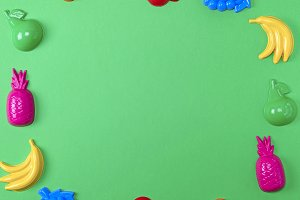 green background with childrens colo