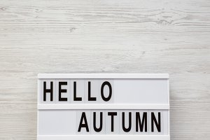 Modern board with text 'Hello Autumn