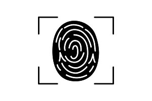 Fingerprint scanning glyph icon