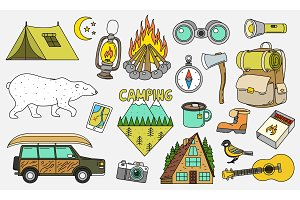 Set of cute camping elements
