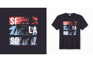 SF LA SD graphic tee vector design