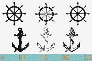 Ships anchor svg Ships Wheel svg