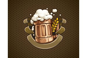 Wooden Beer mug with and froth