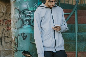 young fashion with mobile phone and