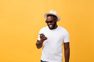 Cheerful African American man in