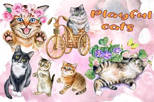 Playful cats. Watercolor