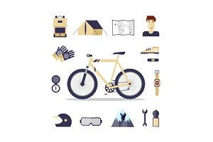 Mountain bike. Flat design.