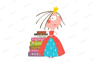 Smart Princess Girl Reading Books