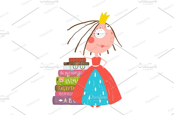 Smart Princess Girl Reading Books in Illustrations