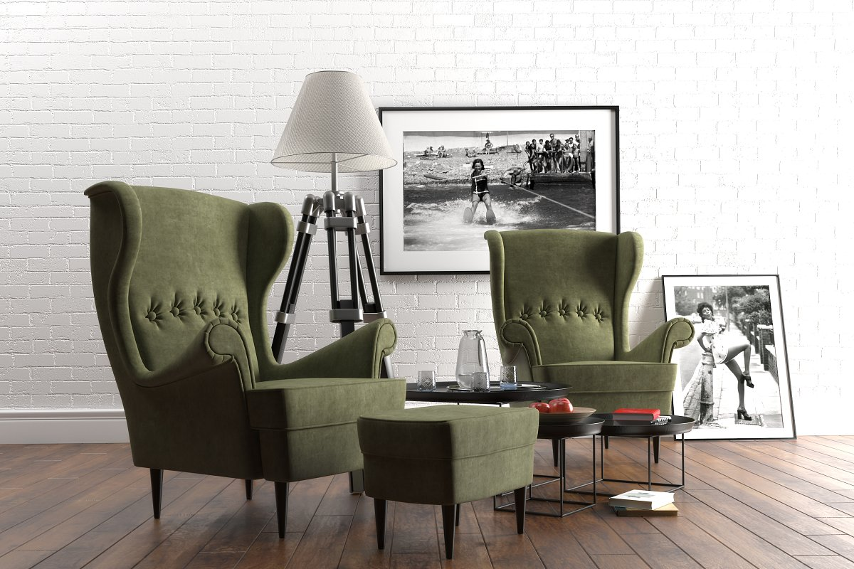 Strandmon wing chairs furniture set