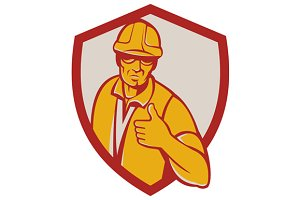 Construction Worker Thumbs Up Shield