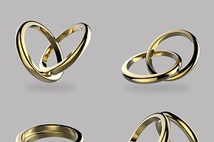 Golden Wedding ring set