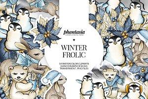 Winter Animals Watercolor Cliparts