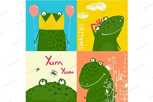 Colorful Fun Cartoon Frogs Animals
