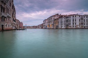 Sunset view on Grand Canal in venice