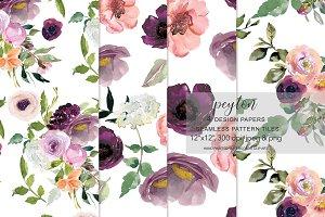 Blush and Burgundy Roses Patterns