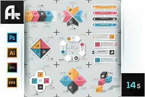 Set Of 9 Flat Infographic Templates