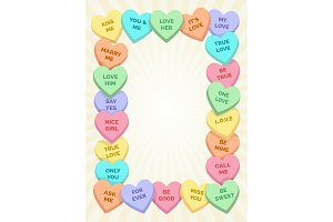 Candy hearts frame