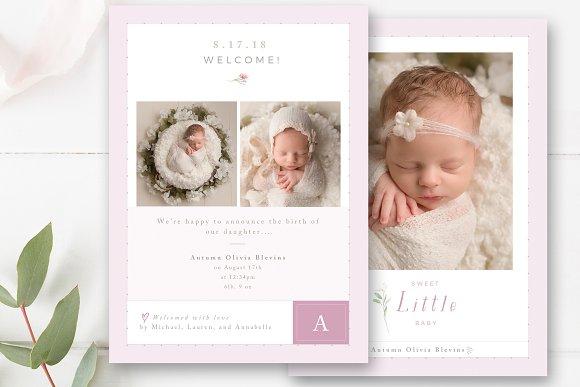 baby birth announcement template card templates creative market