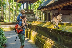 Dad and son travelers discovering