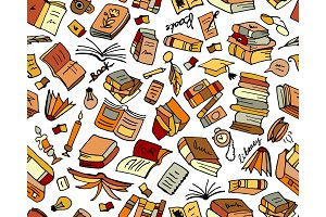 Books collection, seamless pattern