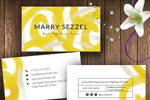 Yellow Abstract Name card ID57
