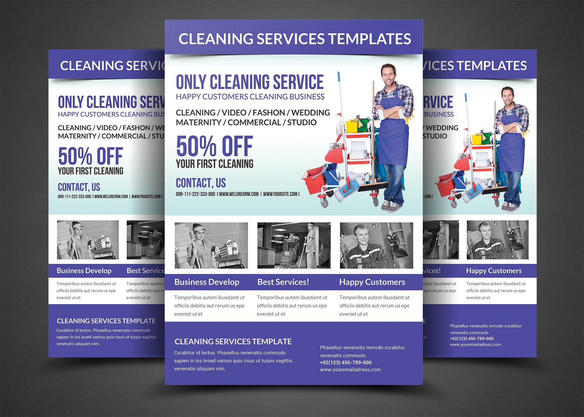 cleaning services flyer template flyer templates creative market. Black Bedroom Furniture Sets. Home Design Ideas