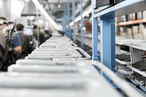 The conveyor on a shoes factory with