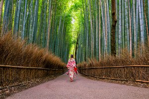 Woman in traditional Yukata with red